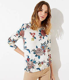 Floral Bubble Hem Sweatshirt