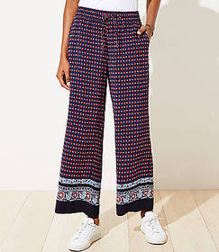 Border Floral Fluid Drawstring Pants