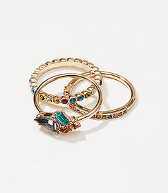 Rainbow Stacked Ring Set