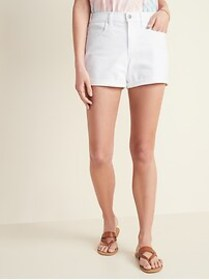 Mid-Rise White Jean Shorts for Women