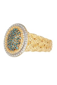 Savvy Cie Pave Blue Diamond Braided Ring - 0.25 ct