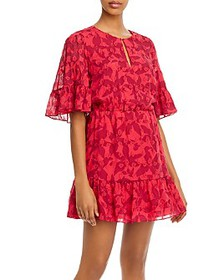 Joie - Tersea Silk-Blend Embroidered Ruffled Mini