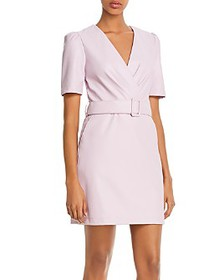 Lucy Paris - Belted Faux Leather Sheath Dress - 10