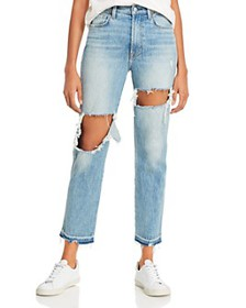 7 For All Mankind - Ripped High-Waist Cropped Stra