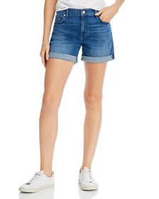 7 For All Mankind - High-Rise Rolled Denim Shorts