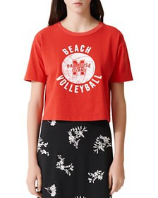 Maje - Tango Cropped Volleyball Graphic Tee