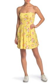 PLANET GOLD Floral Printed Strapless Mini Dress