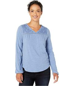 Lucky Brand Long Sleeve V-Neck Embroidered Top