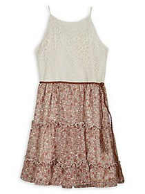 Ally B Girl's Fit-&-Flare Lace Dress PINK MULTI