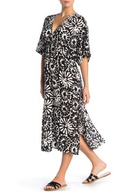 Tory Burch Pomelo Floral Beach Cover-Up Midi Dress