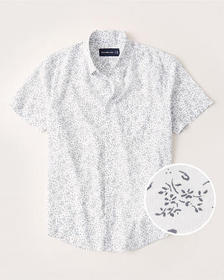 Short-Sleeve Button-Up Shirt, WHITE FLORAL