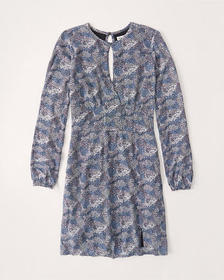Long-Sleeve High-Neck Mini Dress, BLUE PATTERN
