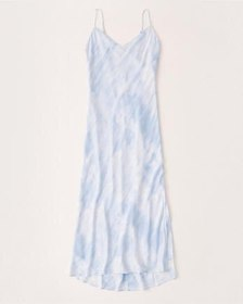 Satin Slip Dress, LIGHT BLUE DYE EFFECT