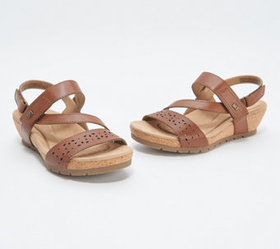 """""""As Is"""" Earth Origins Leather Strap Wedges- Kendra"""