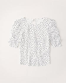 Puff Sleeve Top, WHITE DOT