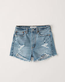 High Rise Mom Shorts, MEDIUM DESTROY