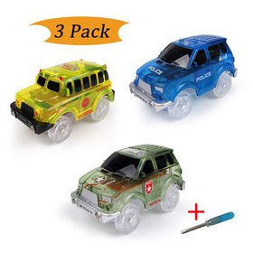 Electric Tracks Cars 3 pack, LED Flashing Car Toys