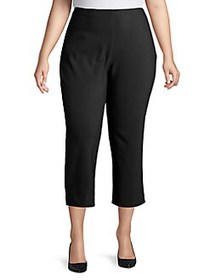 JONES NEW YORK Plus Cropped Cotton-Blend Pants BLA