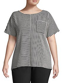 JONES NEW YORK Plus Striped Short-Sleeve Top BLACK