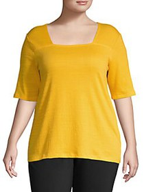 JONES NEW YORK Plus Squareneck Cotton-Blend Top GO