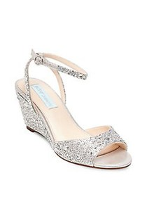 Betsey Johnson Elora Embellished Ankle Strap Wedge