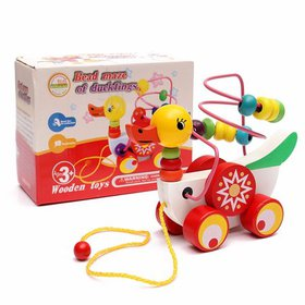 Wooden Duck Trailer Around Beads Educational Game