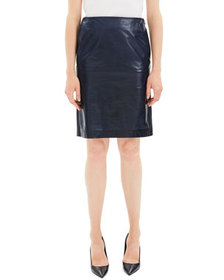 Theory Clean Leather Knee-Length Pencil Skirt