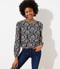 Floral Trellis Wrap Back Top