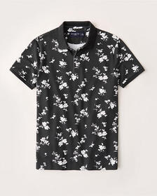 Floral Stretch Polo, BLACK FLORAL