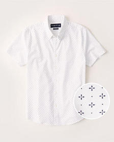 Short-Sleeve Super Slim Button-Up Shirt, WHITE PRI