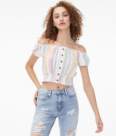Aeropostale Striped Buttoned Off-The-Shoulder Crop
