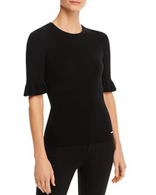 T Tahari - Ruffled Elbow-Sleeve Ribbed Top