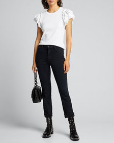 Veronica Beard Jeans Biscay Ruffle-Sleeve Cotton T