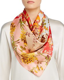 Echo - Patchwork Painted Floral Square Scarf