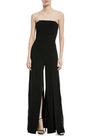 Halston Strapless Strips Jumpsuit