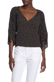 Laundry By Shelli Segal Ruched Tied Sleeve Blouse