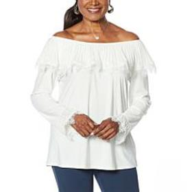 """""""As Is"""" Antthony Pleated Ruffle Long-Sleeve Top"""