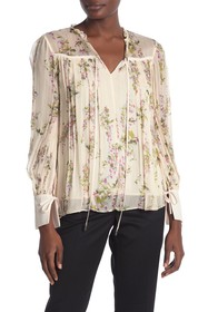REISS Marchino Floral Print Tie Neck Blouse