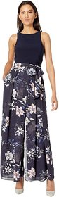 Vince Camuto Printed Chiffon and Jersey Twofer Jum
