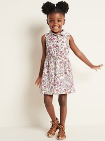 Cinched-Waist Sleeveless Shirt Dress for Toddler G
