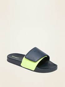 Faux-Leather Secure-Close Slide Sandals for Boys