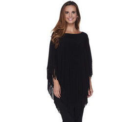 """""""As Is"""" Attitudes by Renee Jersey Knit Poncho w/ F"""