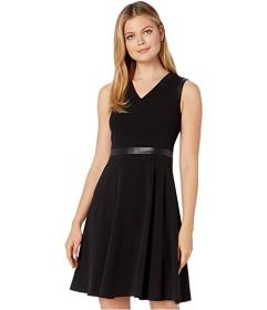 Calvin Klein A-Line Dress with PU Detail