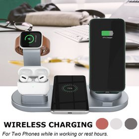 3 IN 1 Wireless Fast Charger Charging Pad Stand fo