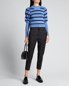 Derek Lam 10 Crosby Elanie Striped Puff-Sleeve Swe