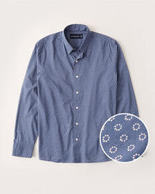 Long-Sleeve Button-Up Shirt, BLUE MICRO PATTERN