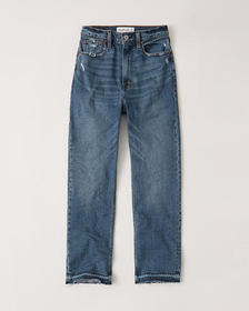 Ultra High Rise Ankle Straight Jeans, DARK WASH