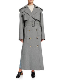 Khaite Binx Herringbone Trench Coat