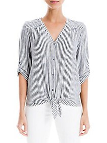 Max Studio Stripe Front Knot Top NAVY IVORY