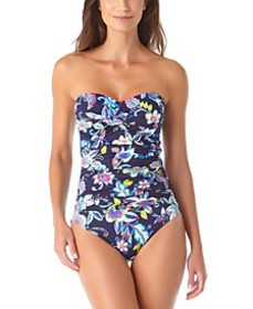Holiday Paisley Twist-Front Strapless One-Piece Sw